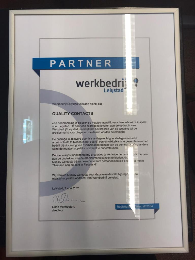 Plaque van partner Werkbedrijf Lelystad
