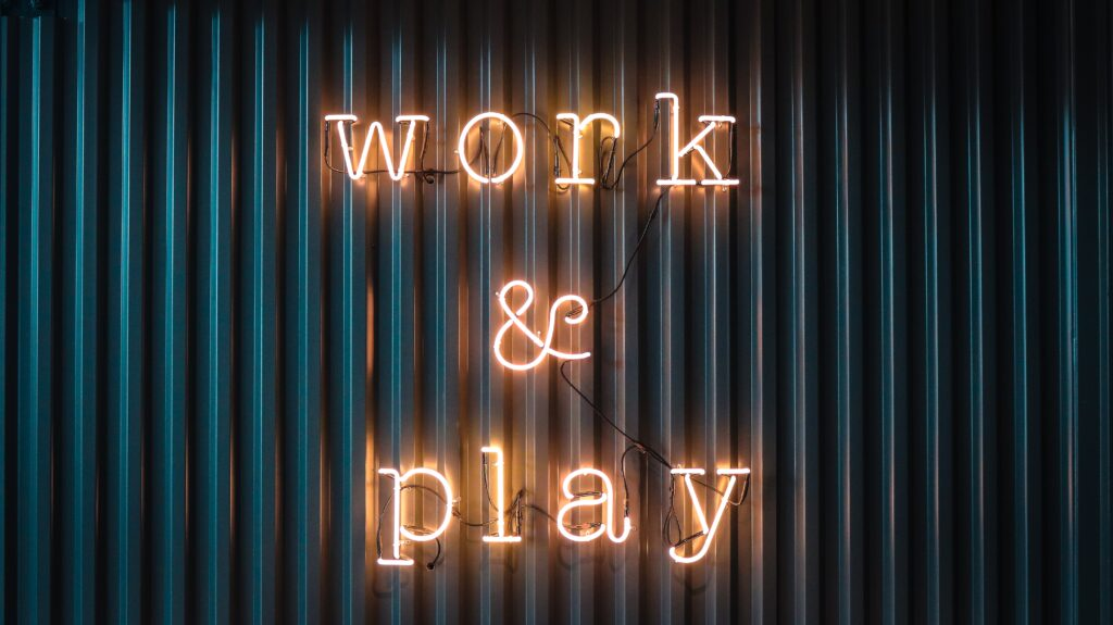 Work & play neonsign at Quality Contacts